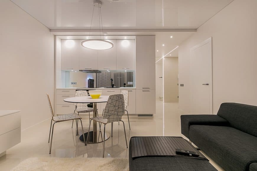 Studio apartment interior with a kitchen, dining area, and living area.