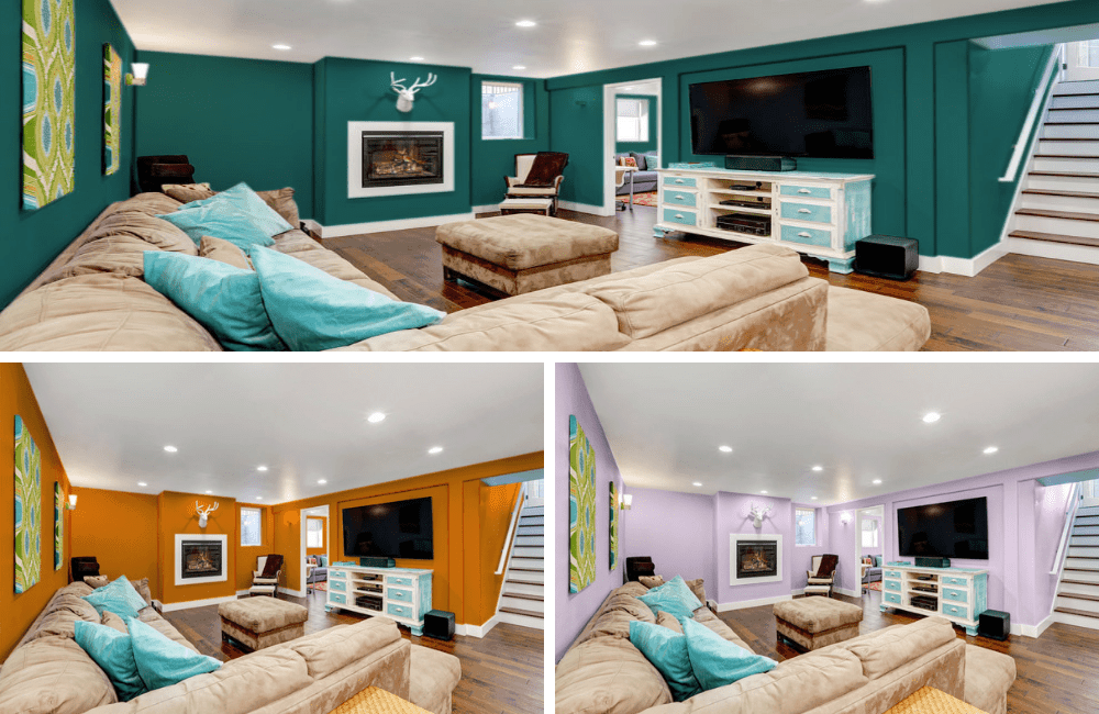 Different colors of basement collage.