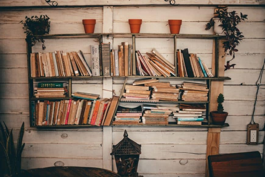 Books and potted plants against a rustic background.
