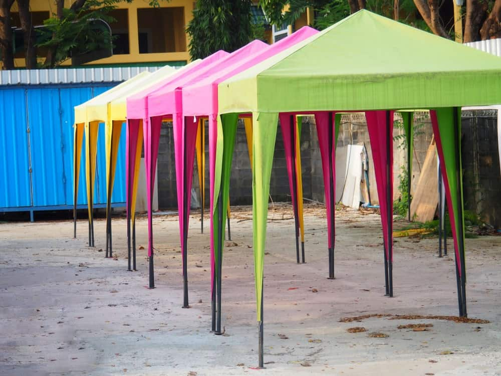 Canvas tarp used as colorful tents.