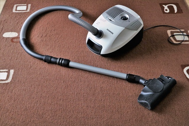 Vacuum cleaner resting on a brown carpet.