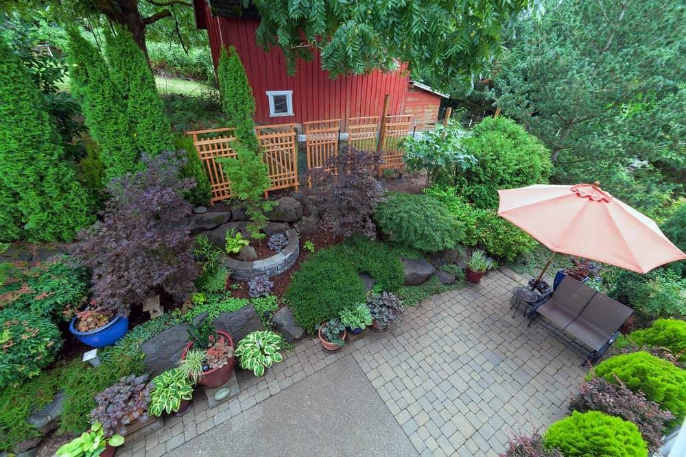 Top view of a backyard garden hardscape.