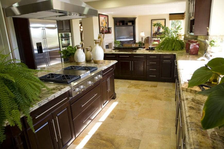 Traditional kitchen decorated with potted plants that create a refreshing ambiance to the room. It includes dark wood cabinetry and stone tiled flooring.