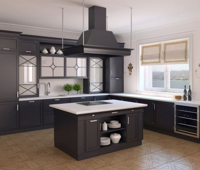 Kitchen with a white marble top breakfast island surrounded by gray cabinetry along with built-in wine fridge.