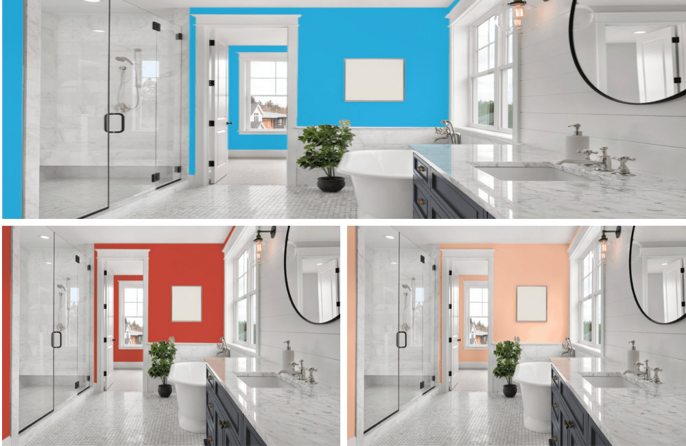 Different colors of master bathroom collage.