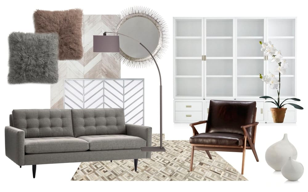 Collage of mid-century modern furniture pieces and home accessories.