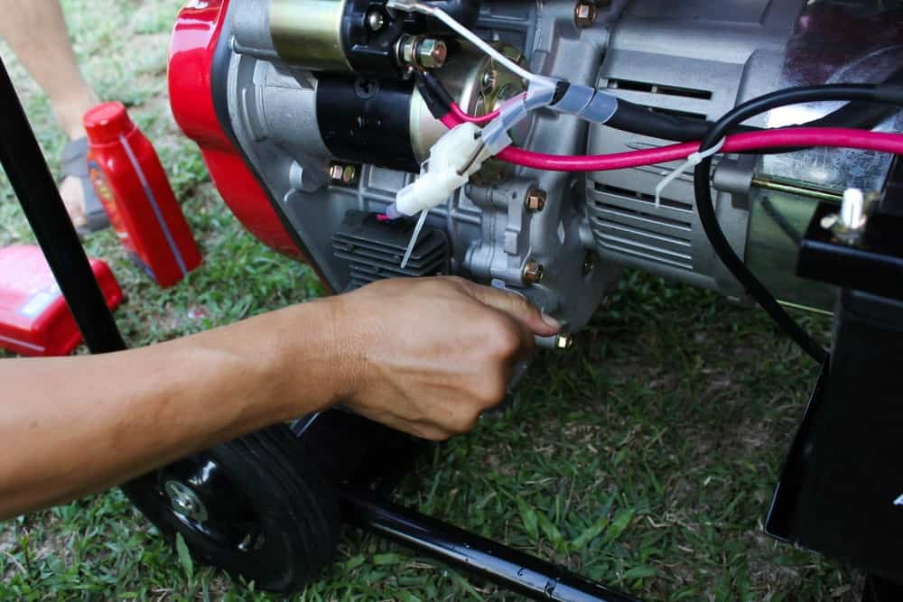 Setting up a mobile generator.