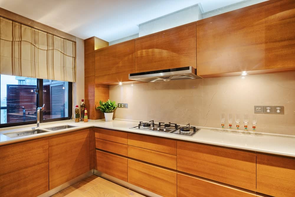 Kitchen with Natural Hardwood Maple Cabinet Doors