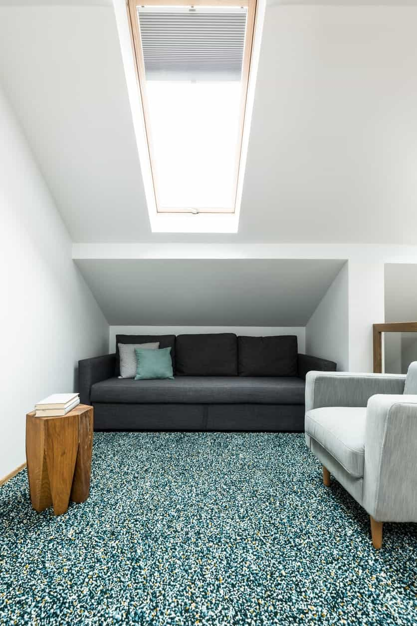 Modern reading nook with a white shed ceiling fitted with skylight. It has gray couch and armchair along with a unique wooden table that sits on a lovely blue rug.