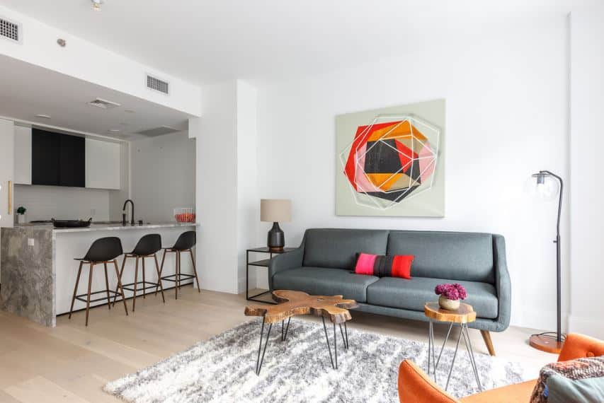 The charming gray sofa against the white wall is paired with colorful artwork mounted on the wall above the sofa. The hardwood flooring is topped with a furry area rug and a couple of peculiar wood-topped tables with slim iron legs.