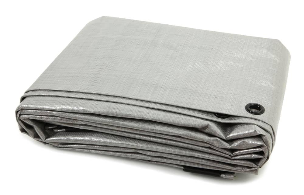 Tarp folded in square