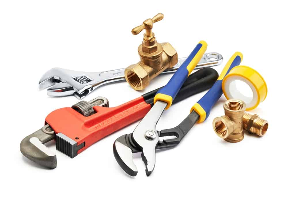 Various types of plumbing tools.