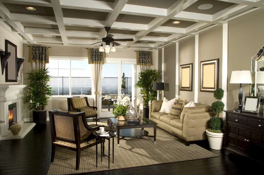 traditional living room with dark wood flooring