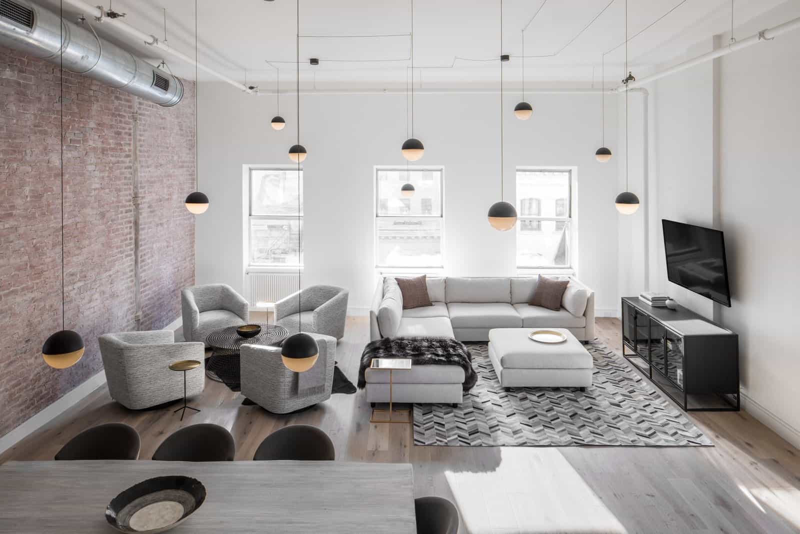 Industrial living space interior in Tribeca.