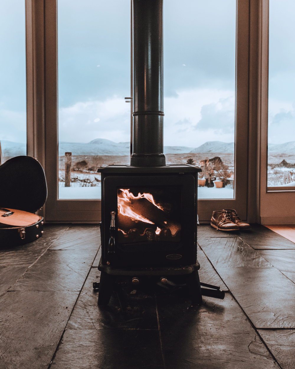 Wood stove in great room
