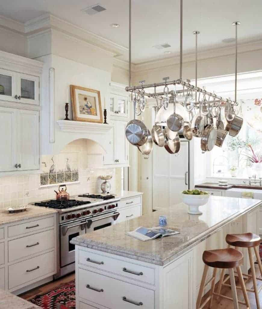 40 Kitchens With Hanging Pot Racks