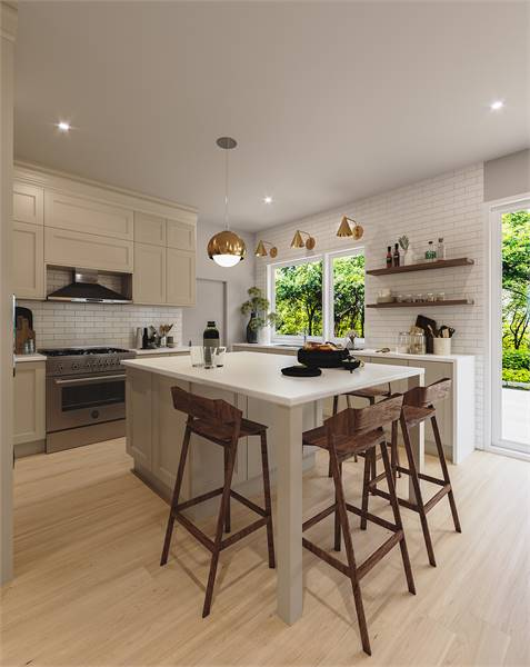 This is a charming kitchen with hardwood flooring, white subway tiles and open shelves that set a nice background for the white kitchen island paired with wooden stools for the breakfast bar.