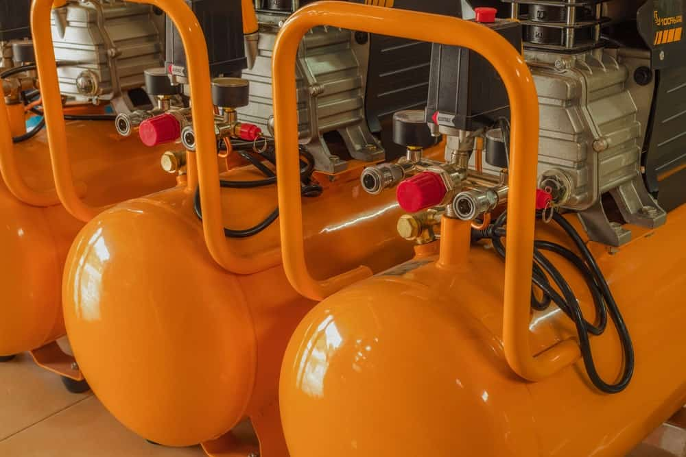 Air Compressors in an Orange Color