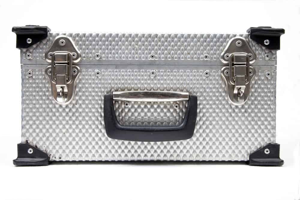 A toolbox with a diamond plate pattern