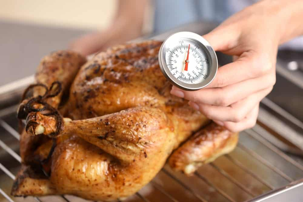 Roasted Chicken with a thermometer