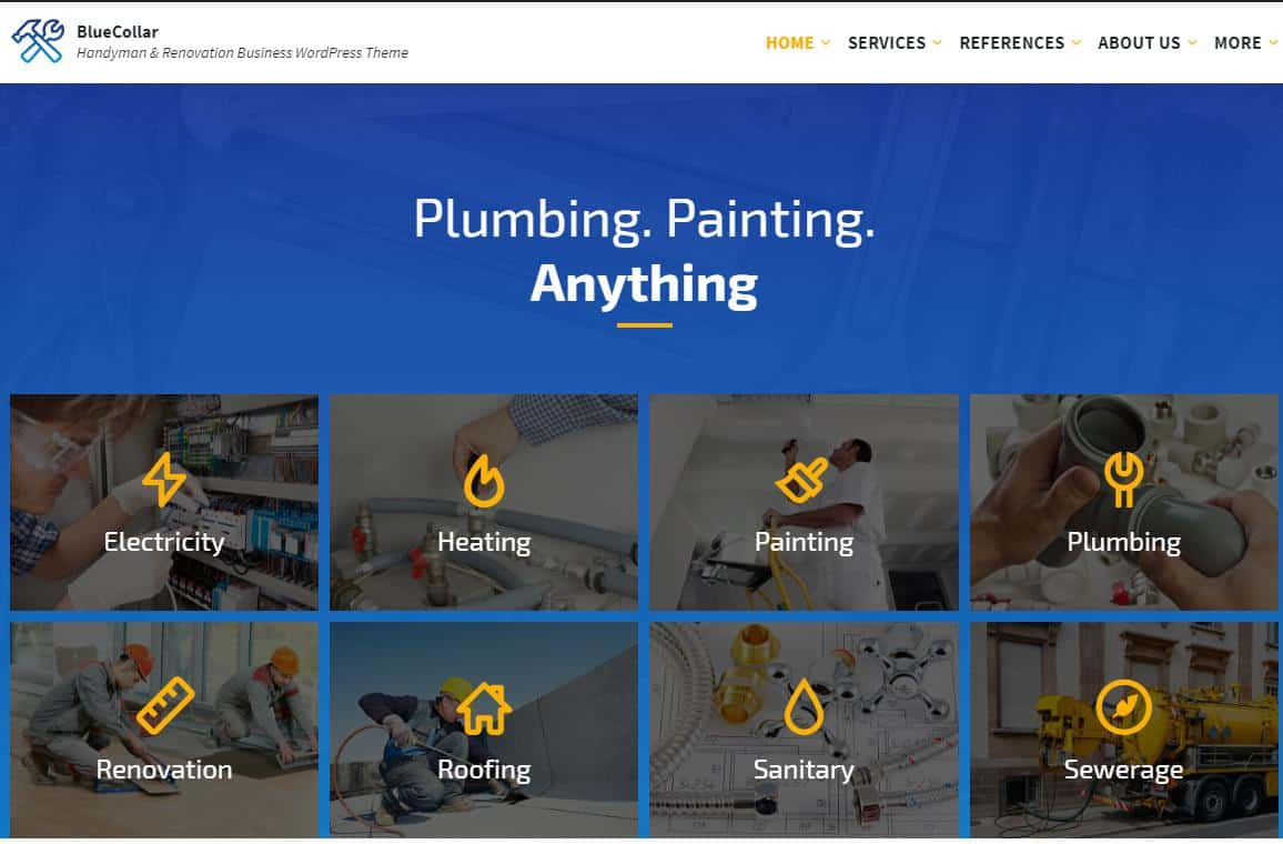 Blue Collar WordPress Theme for Electricians