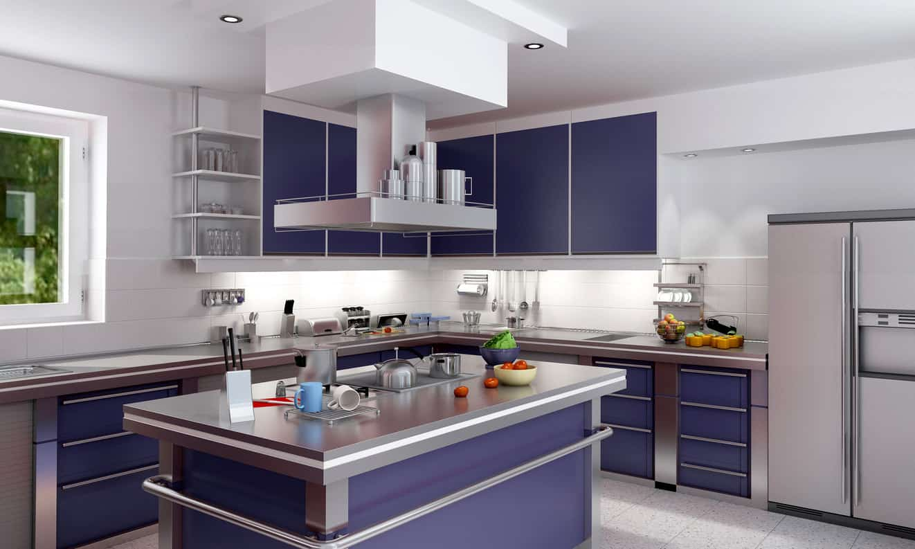 A modish kitchen featuring blue kitchen counter and center island with a shade of silver. The white walls and ceiling look perfect together with the room's style.