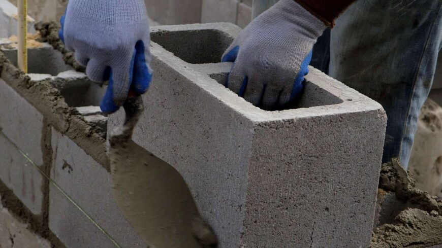 Cinder block foundation being built