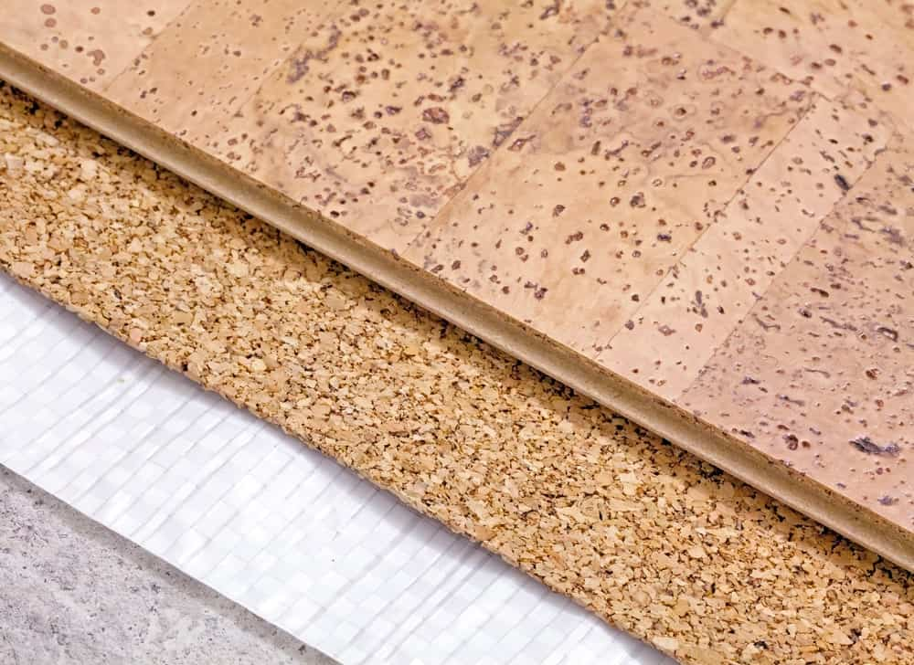Cork flooring samples of different colors