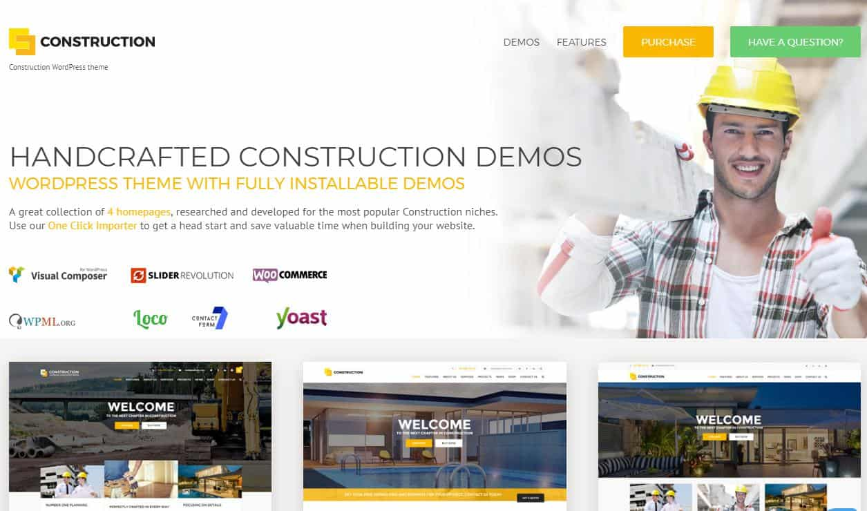 Construction WordPress Theme for Electricians and Constructors