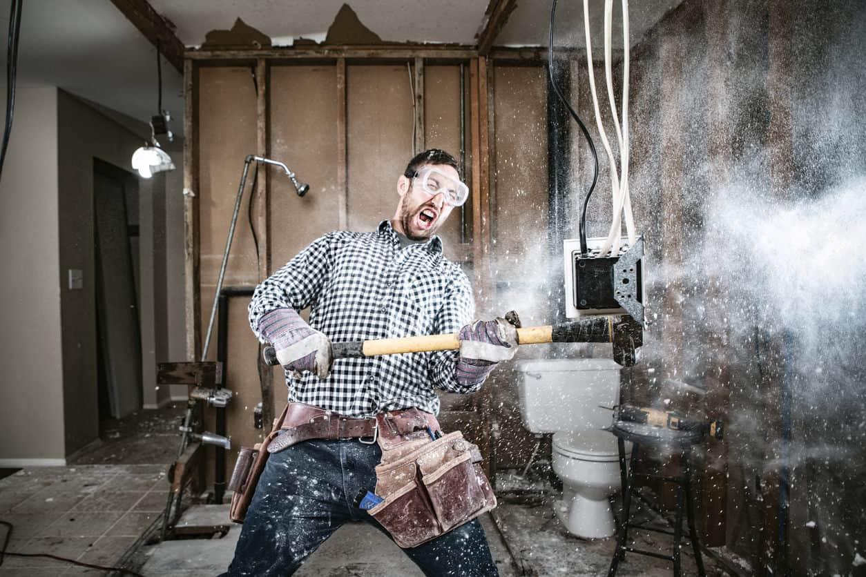 Contractor doing demolition reno work in house