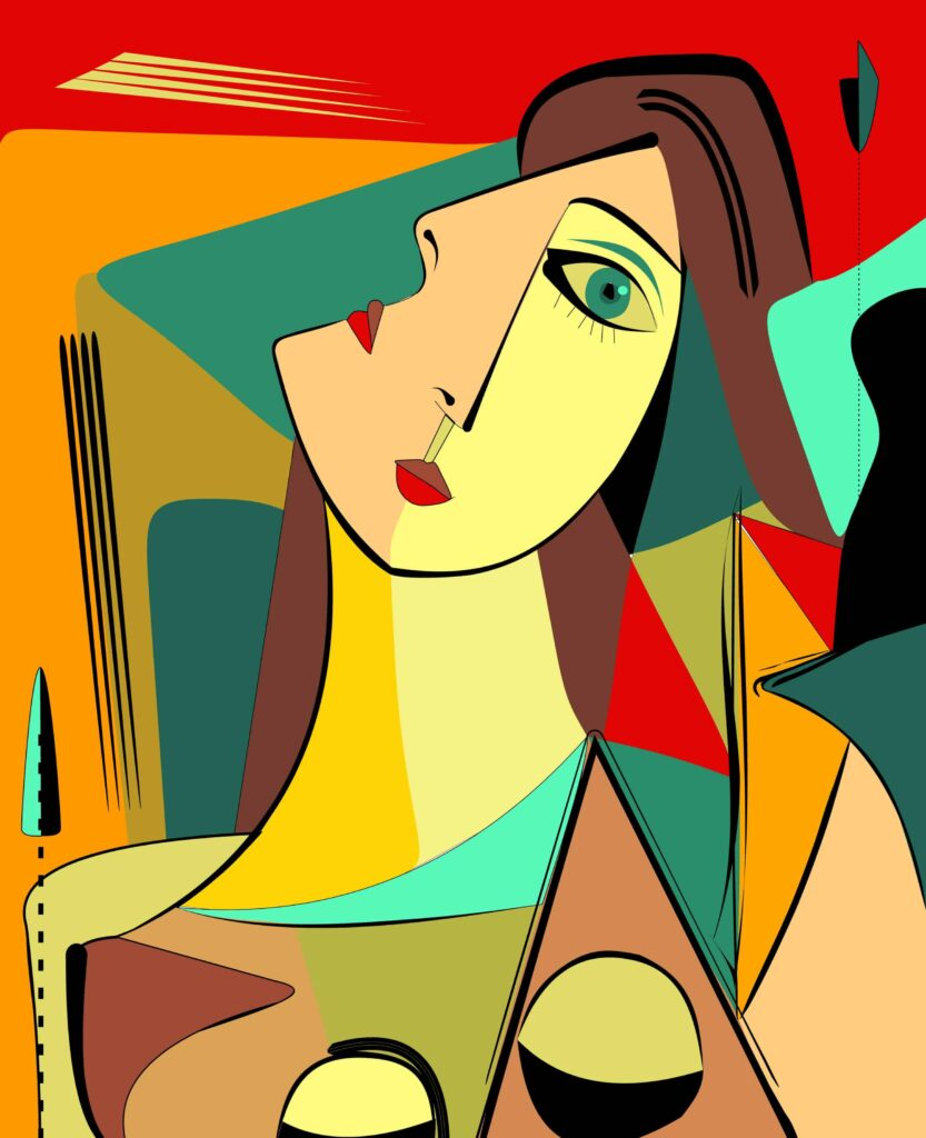 Colorful cubism abstract painting