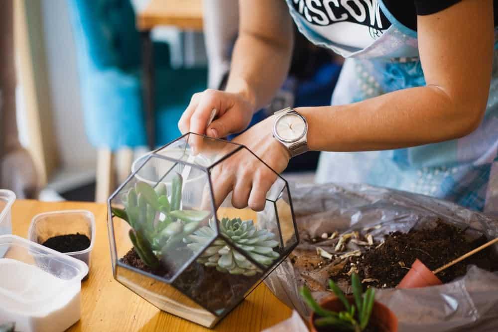 A girl painting a glass terrarium