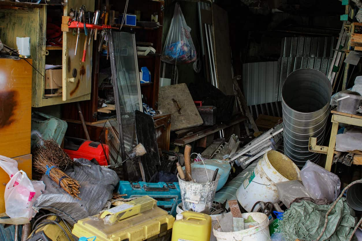 Disgusting messy garage