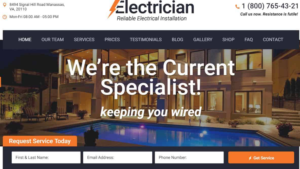 Electrician WordPress Theme for Electricians