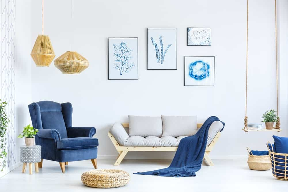 Aesthetically pleasing blue and white furniture