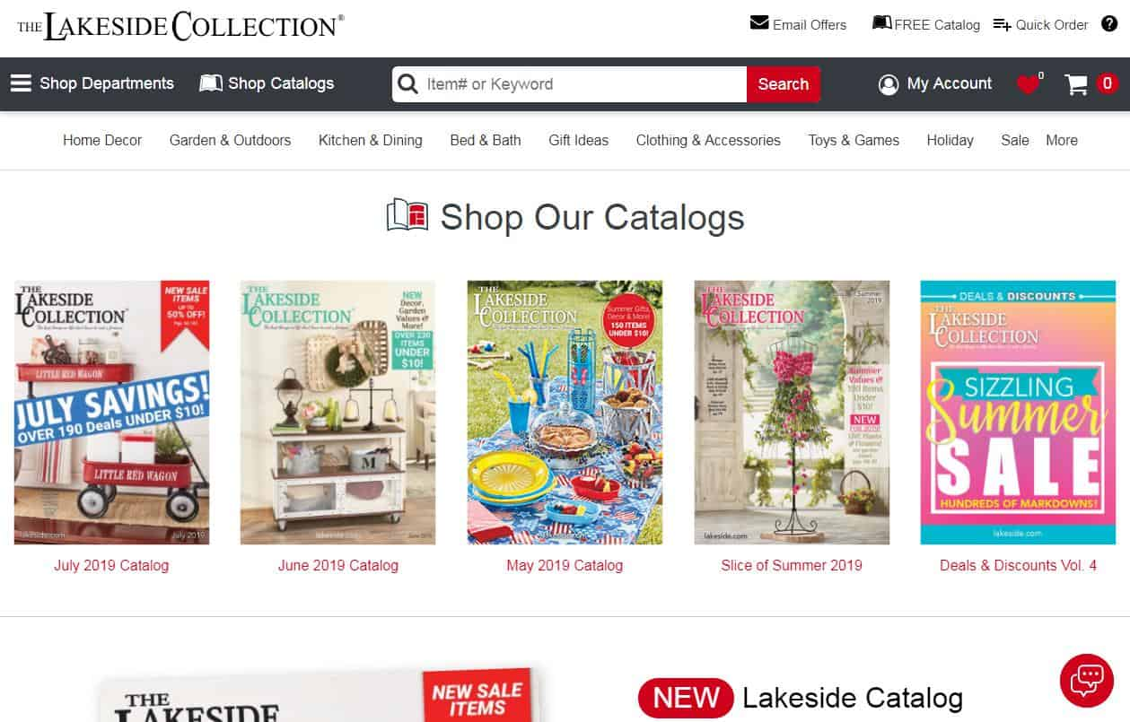 Covers of different catalogs published by Lakeside Collection
