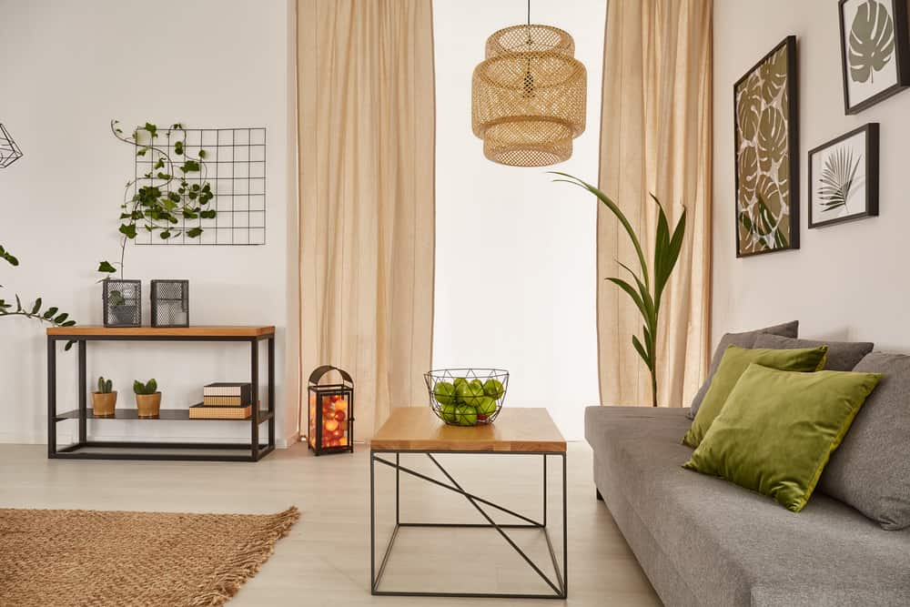 Light and airy living room with some soft earth tones