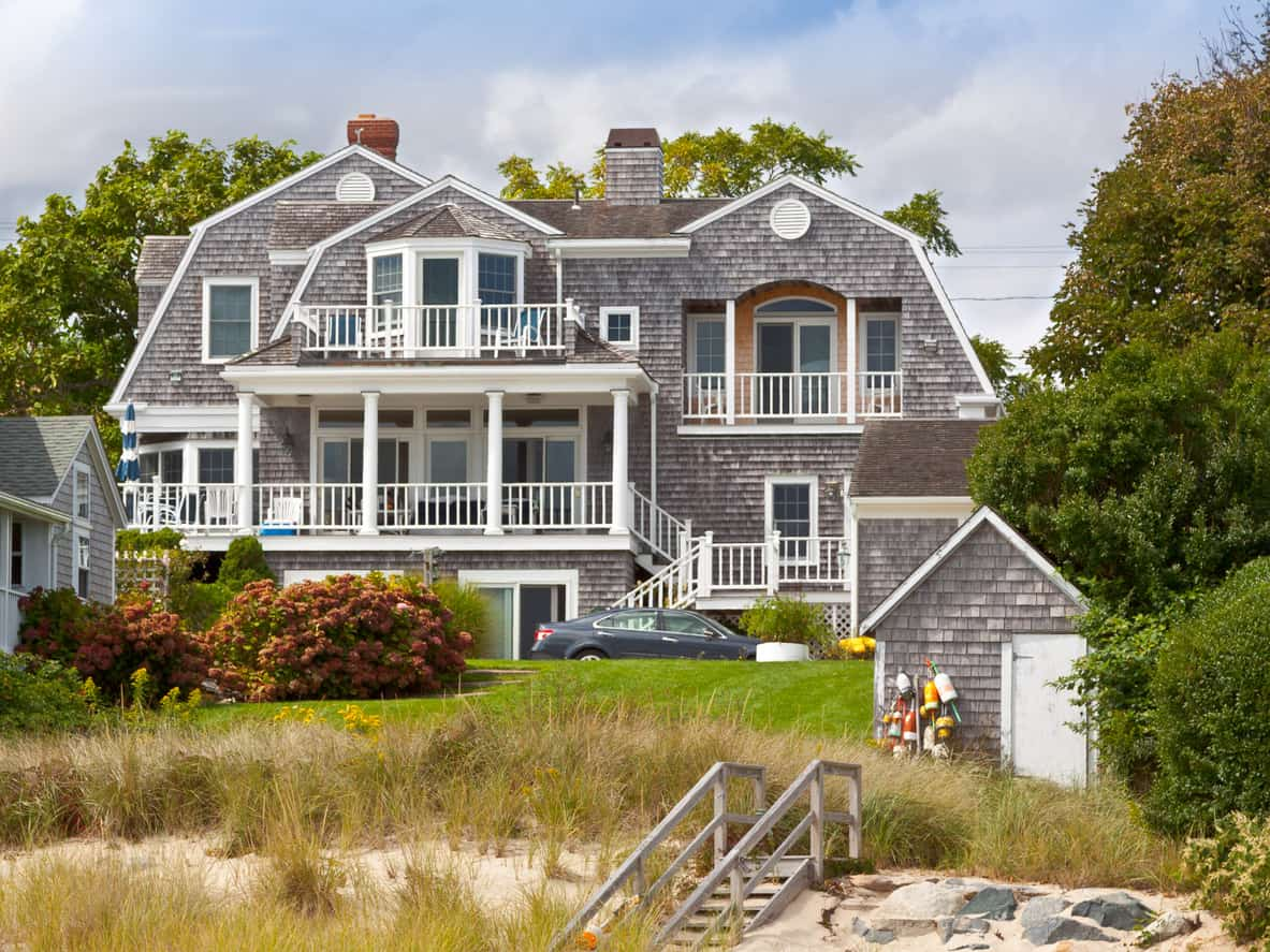 Luxury beach house shingle exterior gambrel roof