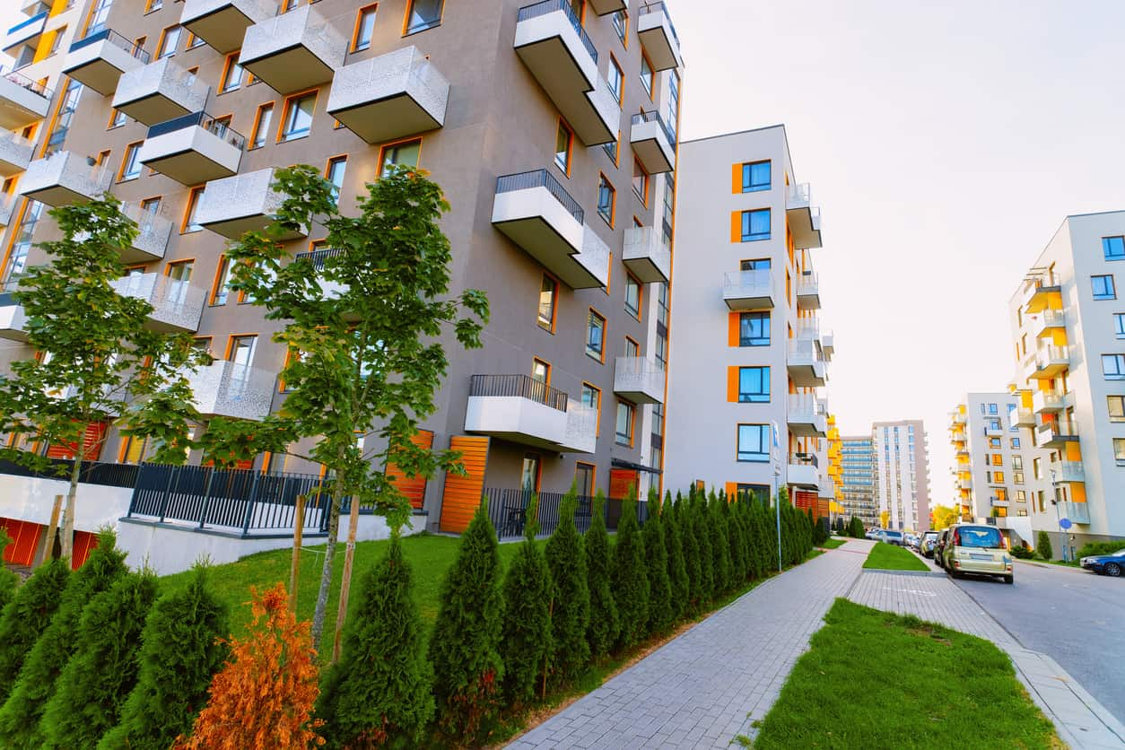 New apartment buildings on street