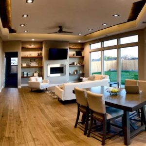 Open concept room with amazing recessed lights and tray ceiling lighting