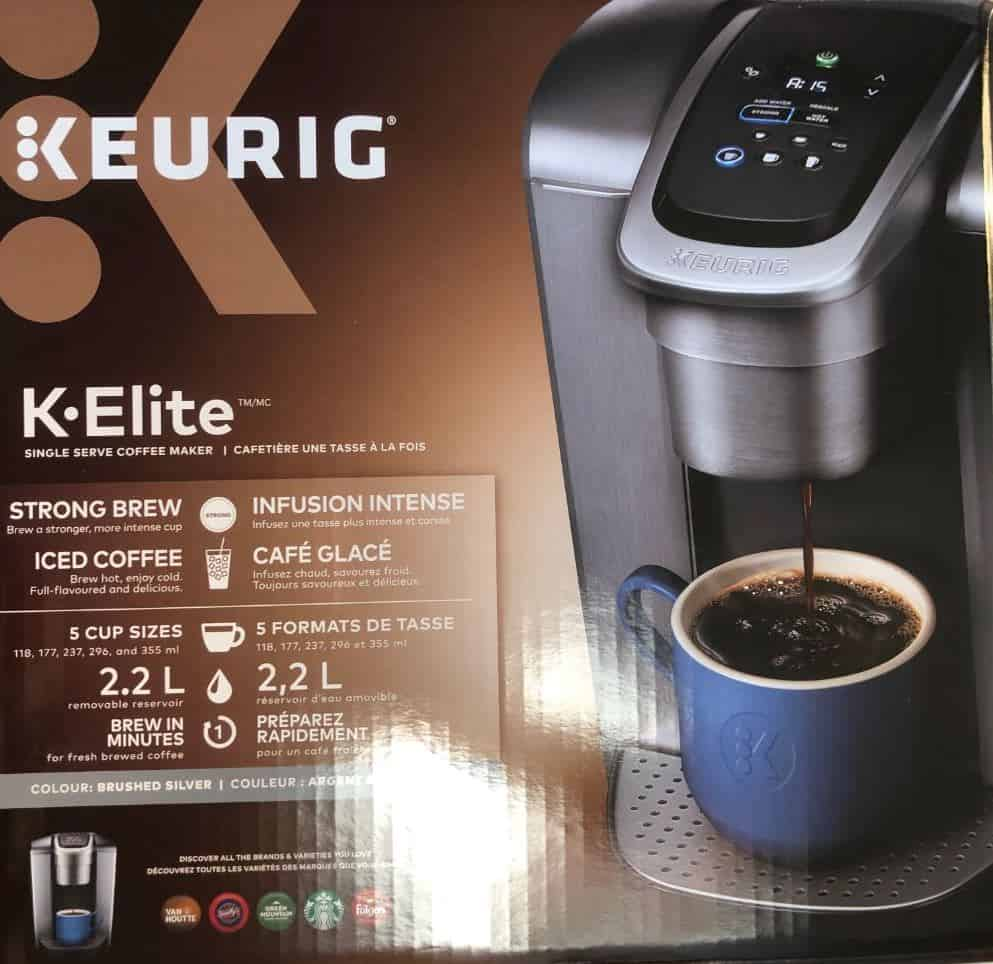 Photo of Keurig K-Elite box and packaging