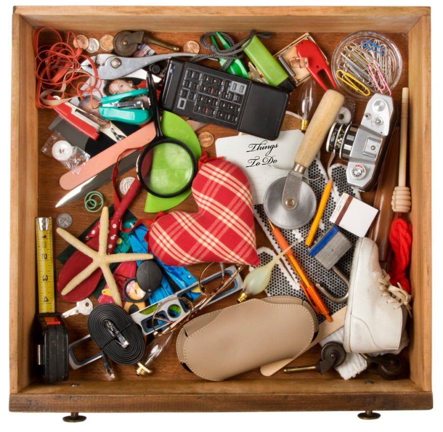 Photo of a drawer of shame - messy drawer