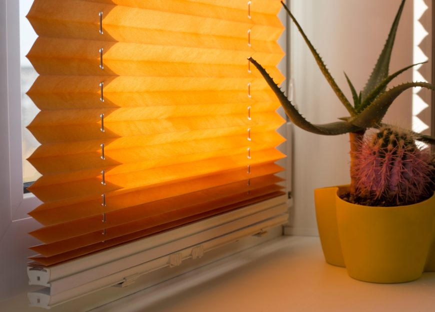 Orange Fabric Pleated Shades Sunglight