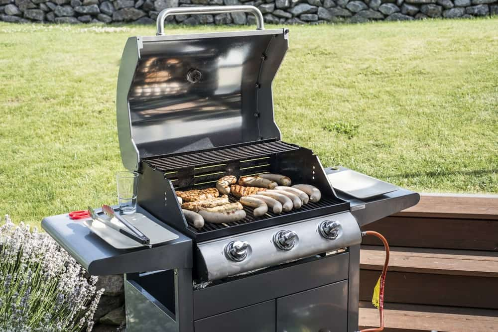 Outdoor use of a propane grill