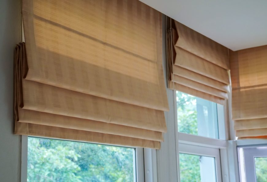 Brown Roman Blinds Shade Curtains Living Room