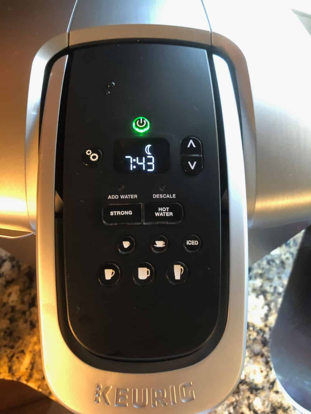 Screen and buttons on Keurig K-Elite Coffee Maker