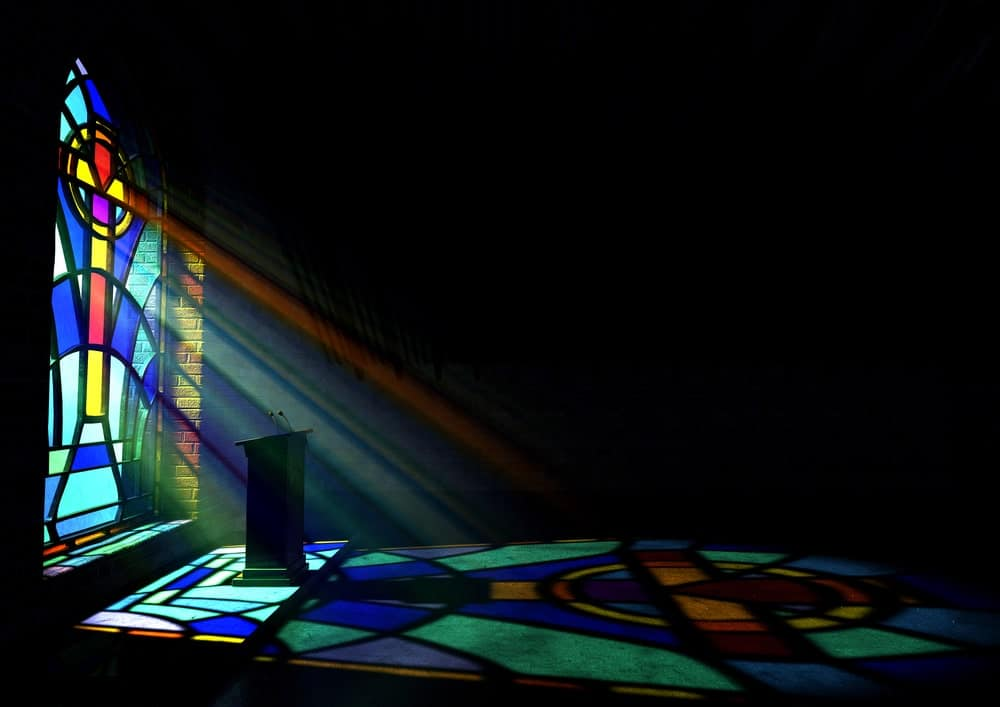 Stained glass art in a church