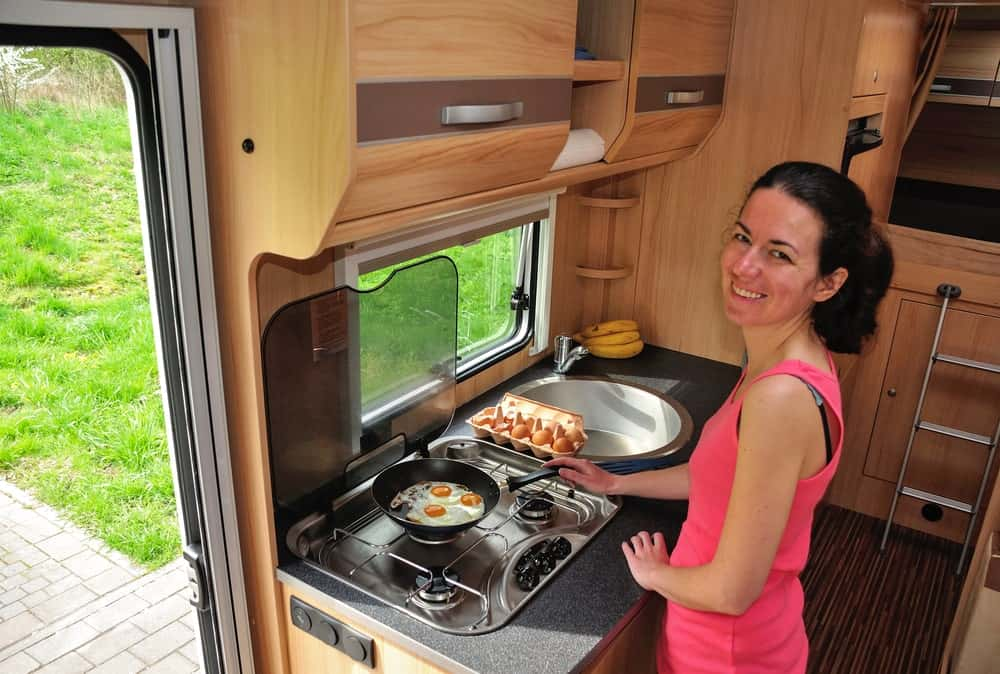 Stainless steel sink in an RV