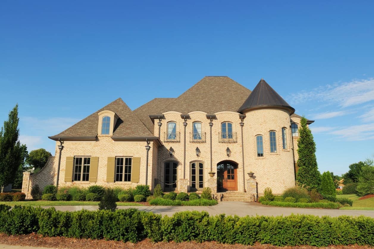 McMansion with turret in suburb