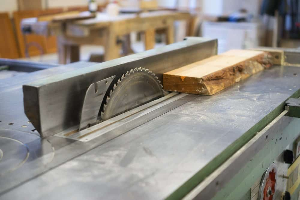Table saw in a workshop